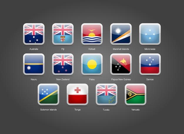 Icone a forma rotonda quadrate lucide 3d per le bandiere dei paesi dell'australia e dell'oceania