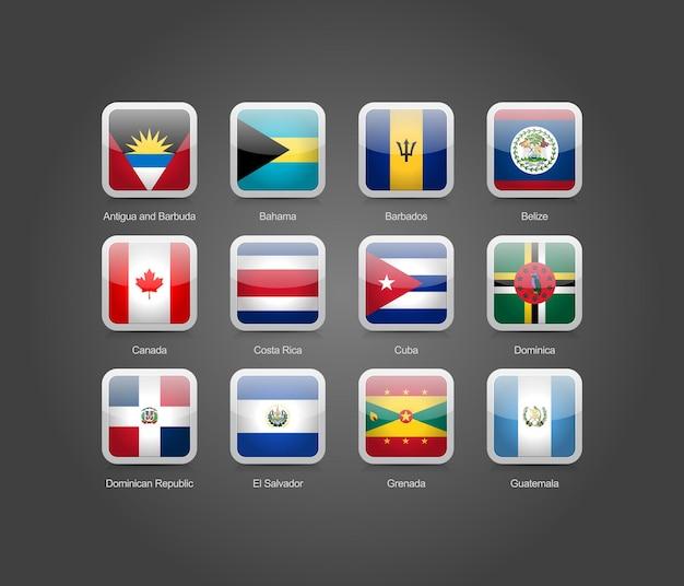 Icone a forma rotonda quadrate lucide 3d per le bandiere dei paesi del nord america