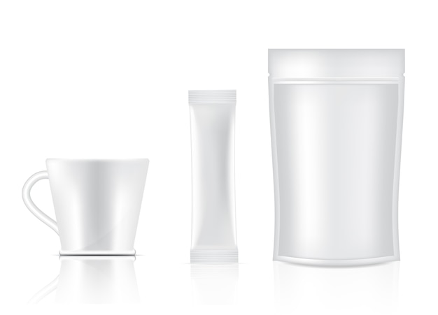 Bustina e tazza lucide del bastone 3d isolate. food and beverage packaging concept design. Vettore Premium