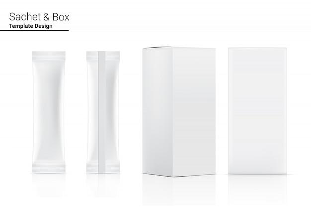 Bustina lucida del bastone 3d anteriore e posteriore con la scatola di carta isolata. illustrazione. food and beverage concetto di packaging.