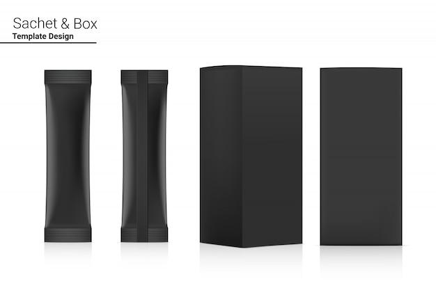Bustina lucida del bastone 3d anteriore e posteriore con il modello della scatola di carta isolato. illustrazione. food and beverage concetto di packaging.