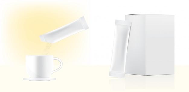 Il modello lucido della bustina del bastone 3d e versa la polvere alla tazza di acqua con la scatola di carta isolata. illustrazione. food and beverage concetto di packaging.