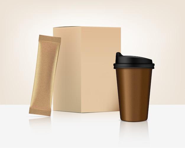 Modello e tazza lucidi della bustina del bastone 3d con la scatola di carta isolata su fondo bianco. food and beverage packaging concept design.