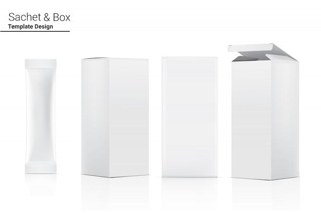 Bustina lucida del bastone 3d con la scatola di carta isolata. food and beverage concetto di packaging.