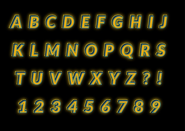 Set di numeri di alfabeti bagliore 3d sul retro