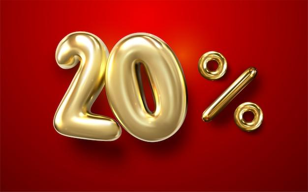 3d palloncino d'oro 20% frase su sfondo rosso