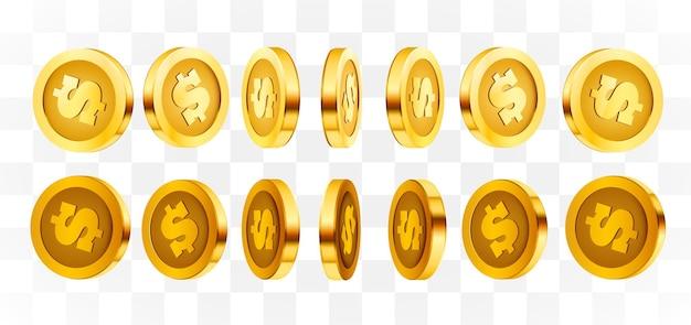 Monete isolate dell'oro 3d messe. posizioni diverse.
