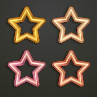 Set di raccolta di stelle d'oro 3d