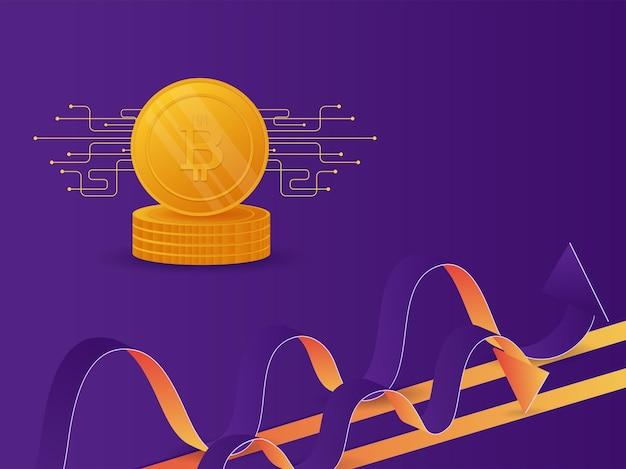 Bitcoins d'oro 3d con onde astratte su sfondo viola per il concetto di criptovaluta.