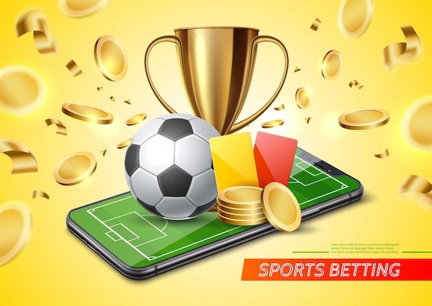 Promo di scommesse della carta di calcio della tazza dorata 3d