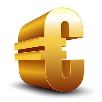Segno dorato dell'euro 3d isolato