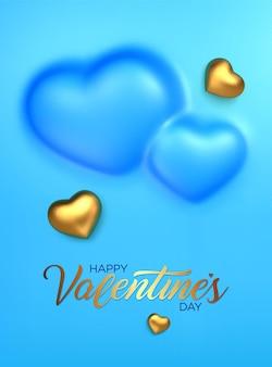 Cuori dorati 3d per il giorno di san valentino felice.