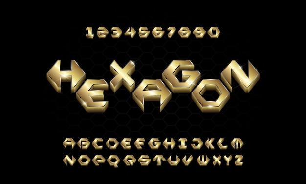 3d golden esagono alfabeto
