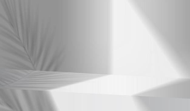 Scena del podio dell'esposizione del prodotto del fondo grigio 3d con la piattaforma geometrica della foglia. sfondo grigio vettore 3d render con podio. stand per mostrare il prodotto cosmetico. vetrina scenica su piedistallo bianco