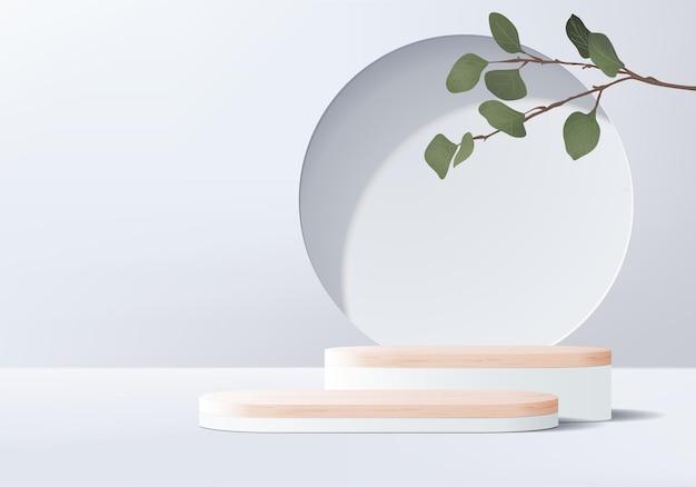 Podio di legno dell'esposizione del prodotto dello sfondo grigio 3d con piattaforma geometrica foglia.