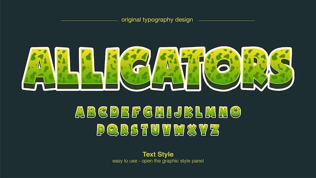 Effetto testo cartone animato con stampa animalier verde 3d