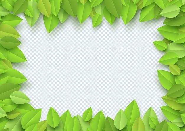 Priorità bassa del bordo della pagina delle foglie verdi 3d