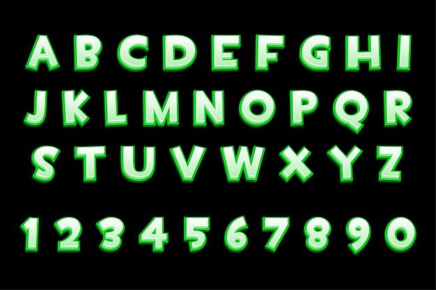 Alfabeto al neon verde 3d e numeri per i giochi dell'interfaccia utente, testo. raccolta di illustrazione vettoriale di lettere e numeri per interfaccia grafica.