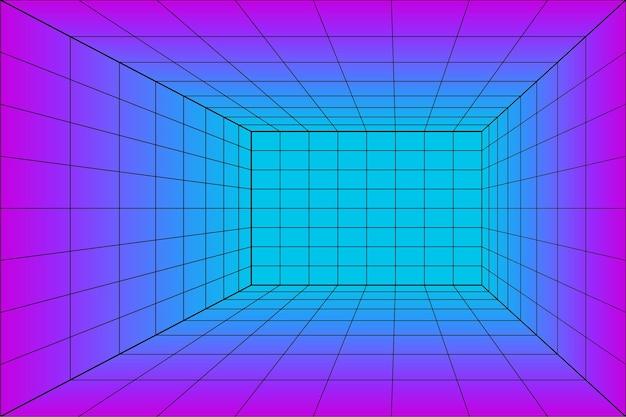 Sala laser prospettica griglia 3d in stile tecnologico. tunnel di realtà virtuale o wormhole. sfondo astratto vaporwave