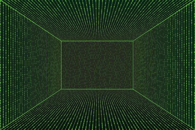 Stanza di prospettiva della griglia 3d nello stile di tecnologia della matrice. tunnel di realtà virtuale o wormhole. sfondo astratto codice binario computer