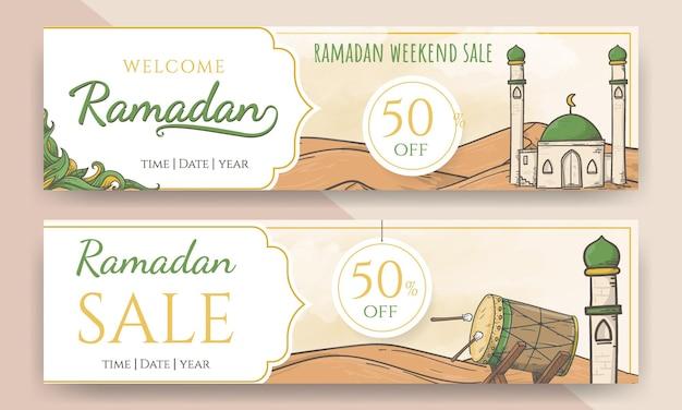 Banner di vendita di ramadan e ramadan di benvenuto disegnato a mano 3d Vettore Premium