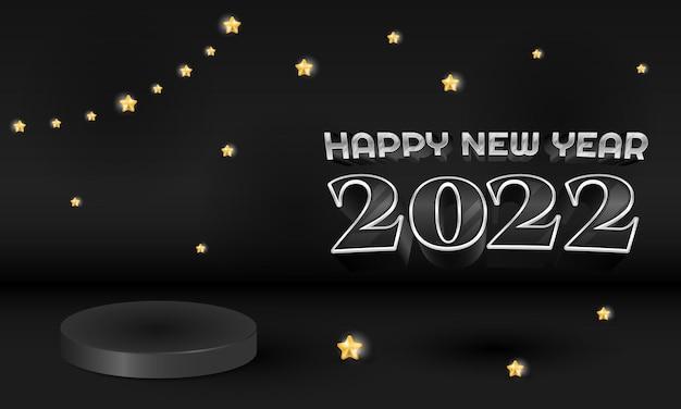 Banner di felice anno nuovo 3d con display del prodotto sul podio e stella