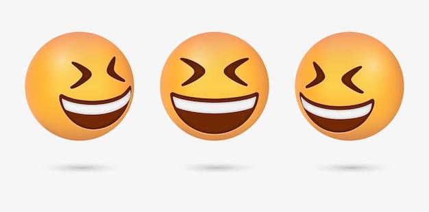 Faccina emoji sorridente felice 3d con gli occhi chiusi o emoticon ghignante con occhi socchiusi