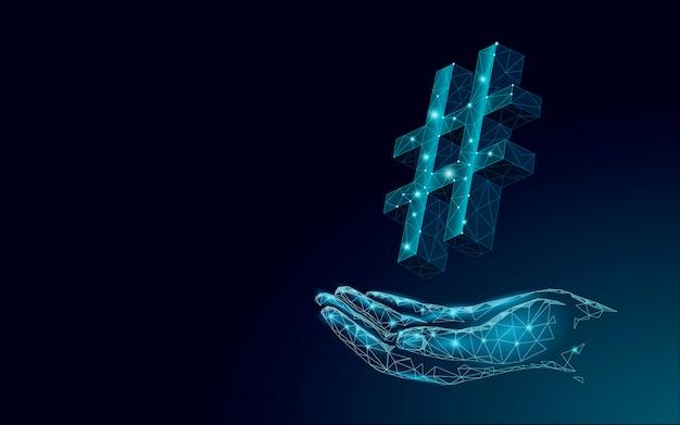 Simbolo hashtag 3d blu scuro incandescente low poly