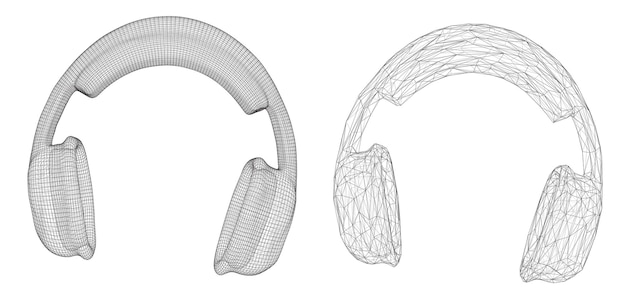 Cuffie 3d isolate su priorità bassa bianca. disegno musicale