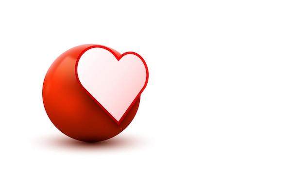3d cuore palla segno emoticon icon design per social network