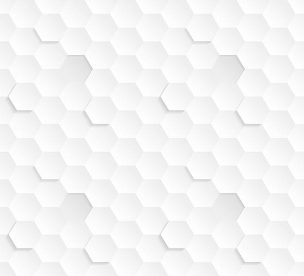 Modello senza cuciture astratto bianco di esagoni 3d. la tecnologia della scienza blocchi esagonali struttura leggera sfondo concettuale ripetitivo. sfondo piastrellabile strutturato sottile in bianco chiaro tridimensionale