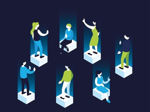 Cartoni animati di donne e uomini di ologramma 3d su cubi, persone di persone e illustrazione di tema umano