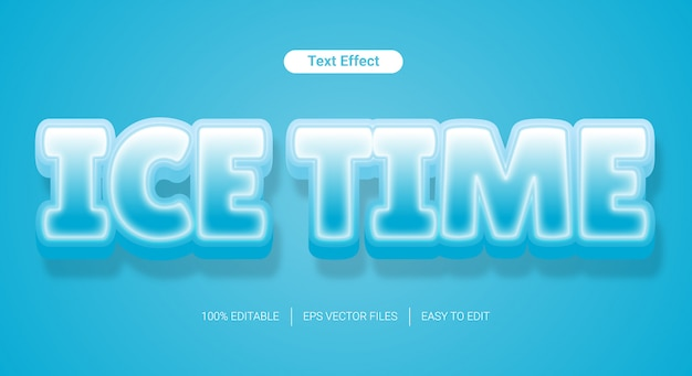 Effetto modificabile di stile del testo di struttura ghiacciata 3d