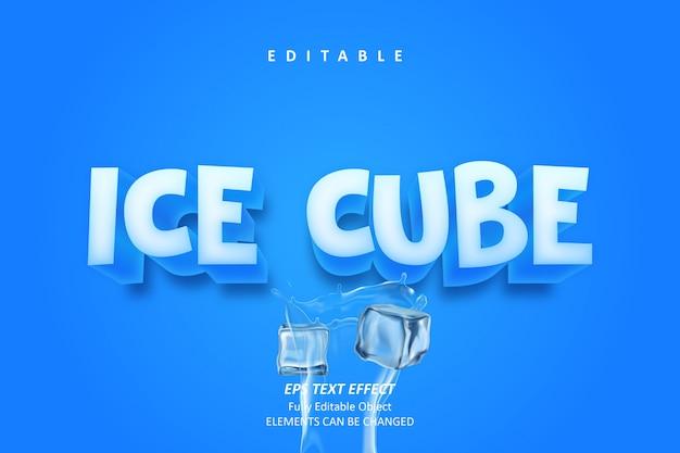Cubetto di ghiaccio 3d effetto di testo modificabile