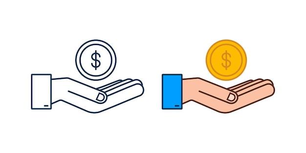 Icona 3d con mano d'oro con moneta da un dollaro per il concept design vettore semplice icona finanziaria