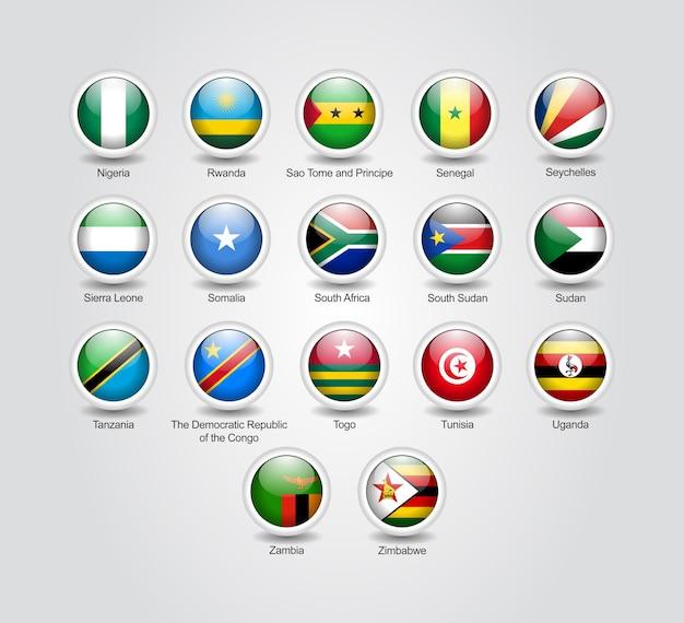 Set di icone 3d lucide per bandiere di paesi africani