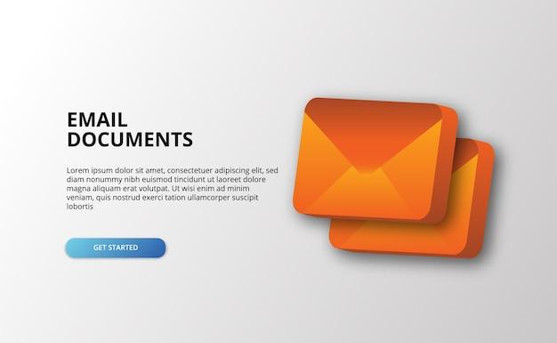 3d icone lettera e-mail documento messaggio icona illustrazione per l'invio di messaggi di marketing