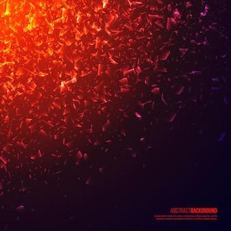 Esplosione astratta illuminata 3d, particelle incandescenti.