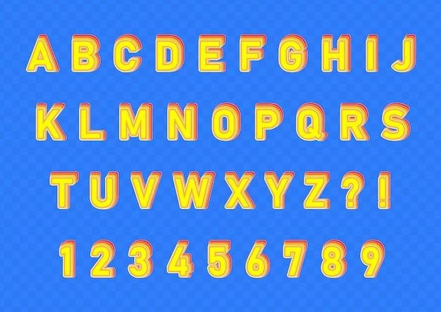 Set di numeri di alfabeti con effetto illusione 3d