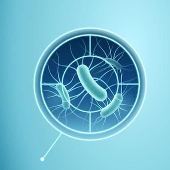 Illustrazione 3d di batteri visualizzati nel concetto di mirino per rilevare malattie che causano microbi