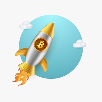 Illustrazione 3d del razzo bitcoin che vola con le nuvole isolate
