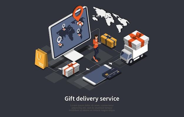 Progettazione isometrica del fumetto dell'illustrazione 3d con il servizio di consegna del regalo
