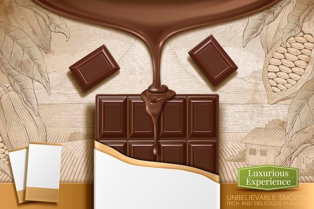 Barretta di cioccolato illustrazione 3d con pacchetto vuoto su sfondo cacao incisione retrò retro