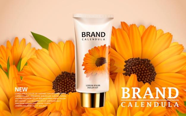 Progettazione di annunci cosmetici illustrazione 3d con modello di prodotto e sfondo di fiori