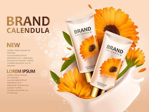 Progettazione di annunci cosmetici illustrazione 3d con modello di prodotto e fiori