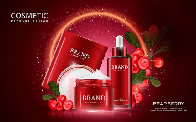 Mockup cosmetico illustrazione 3d con ingredienti su sfondo rosso scuro
