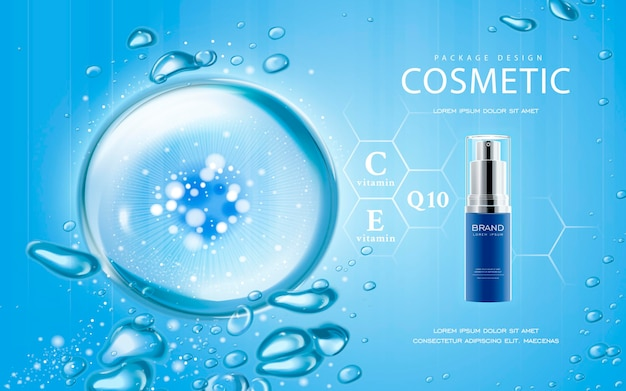 Mockup cosmetico illustrazione 3d con acqua frizzante goccia su sfondo blu
