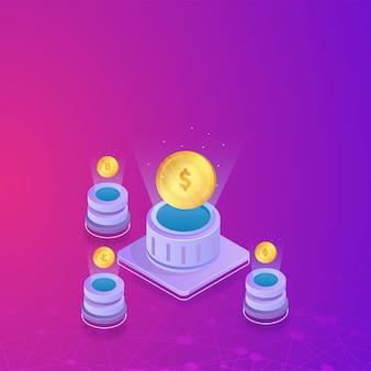 Illustrazione 3d del dollaro collegato con il server di monete crypto su sfondo viola linee di connessione digitale.