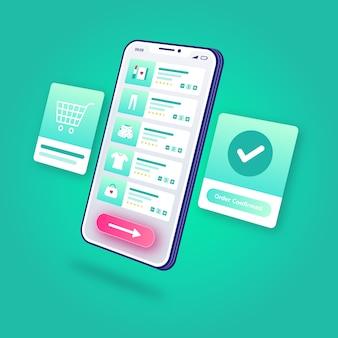 Applicazione mobile confermata ordine online di acquisto di commercio elettronico dell'illustrazione 3d