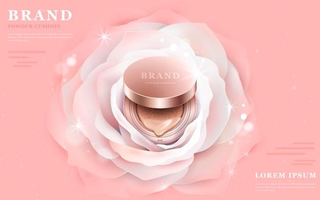 Prodotto di fondazione di illustrazione 3d al centro di un romantico fiore bianco